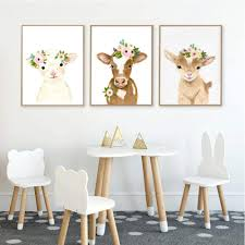 Amazon Com Floral Farmhouse Cow Sheep Wall Art Canvas Painting Nordic Posters And Prints Nursery Wall Picture Kids Room Baby Room Decor 50x70cmx3 No Frame Posters Prints