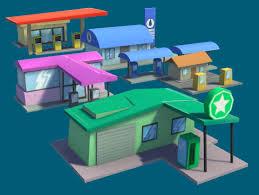 gas stations cartoon pack 3d urban