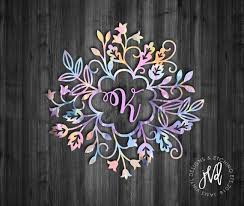 Flower Monogram Decal Floral Frame Monogram Initial Decal Tumbler Decal Floral Decal Monogram D Car Monogram Decal Initials Decal Monogram Decal