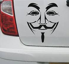 Stickers X2 Anonymous Sticker Vinyl Decal Car Bike Van Mask Illuminati Hacker Occupy Nwo 3pteb My