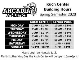 facility hours arcadia university