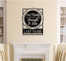 Personalized Our Family Is A Circle Of Strength Love Vinyl Decal Wall Stickers Letters Words
