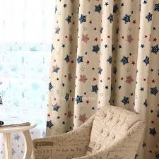 Classic Blue And Red Stripe And Star Pattern Kids Room Curtains