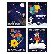 Outer Space Room Decor Wall Posters I Kids Tapestry Solar System Decoration Pack Of 4 8 X10 Boys Bedroom Poster Galaxy Themed Science Classroom Art Astronaut Inspirational Astronomy Decorating Stickers Educational