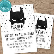 Invitacion De Cumpleanos De Batman En Blanco Y Negro Para Imprimir