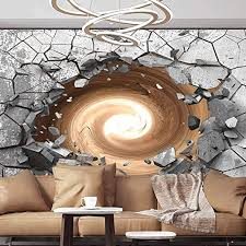 Amazon Com Wall Mural Decal 3d Trap Vortex Dark Cracked Broken Hole In Concrete Wall The End Of The Pipe Is Light Self Adhesive Large Wallpaper 144 X100 366x255 Cm For Livingroom Bedroom Nursery School Family