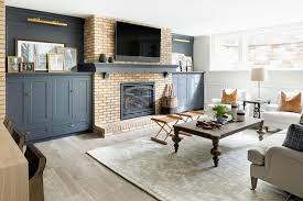 brick fireplace with blue built