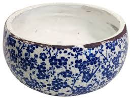 vintage style blue and white ceramic