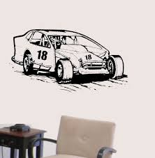 Modified Racecar Vinyl Wall Decal Racing Race Car Extreme Dirt Track Sports Decals Free Personalization