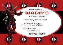 Invitacion Del Cumpleanos De Deadpool Imprimible Por 717graphi