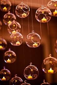 4 hanging glass globe candle holder