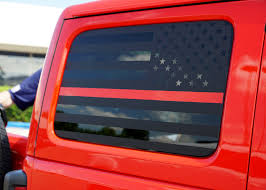 2018 Jeep Wrangler Rear Side Window Flag Decal
