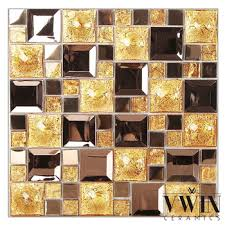 shiny gold crystal mosaic glass tiles