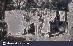 Digital Photograph - Mother & Daughter Standing outside Tent & Clothesline,  Cowes, Phillip Island, 1954, Woman and