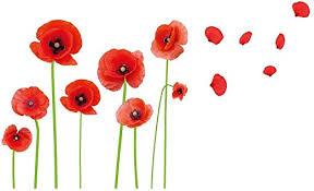 Amazon Com Esmee Diy Red Poppies Beautiful Flowers Vines Stick Wall Decals Living Room Bedroom Children Room Nursery Home Kitchen