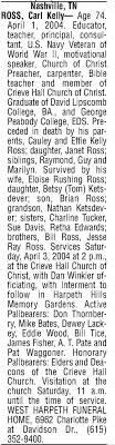 Carl Kelly Ross Obituary - Newspapers.com