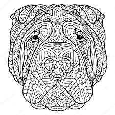 Coloring Book For Adults Dog Book The Head Of A Dog Sharpay With