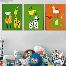 Green And Orange Whimsical Children Room Animal Paintings Giraffe Zebra And Elephant Wall Art Nursery Paintings Nursery Wall Painting Elephant Wall Art