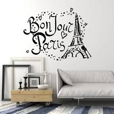 Bonjour Wall Decal Paris Tower France Love Stars Fashion Bedroom Living Room Interior Decor Vinyl Stickers Shop Wallpaper Q870 Leather Bag