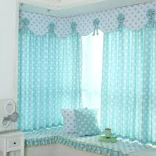 Baby Blue And White Floral Print Polyester Short Bay Window Curtains For Kids Room Or Nursery