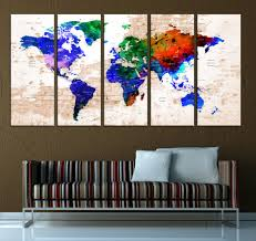 Push Pin World Map Canvas Print Large Watercolor Map Wall Art 585 Walldecal76 On Artfire