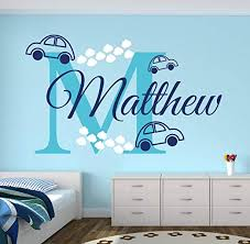 Amazon Com Tiukiu Name Wall Decal Cars Wall Decal Boy Custom Name Decal Baby Room Decor Nursery Wall Decals Vinyl Large Size Kitchen Dining