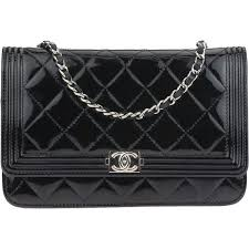 pre owned chanel black patent leather