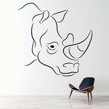 Rhinoceros Portrait Rhino Outline Wild Animals Wall Decal Sticker Home Ws 17667 Ebay