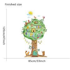 Wall And Room Cartoon Tree House Decal Diy Wall Art Free Shipping