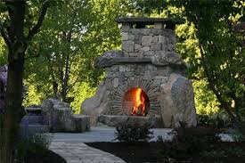 outdoor stone fireplace landscaping