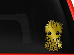Amazon Com Baby Groot Guardians Of The Galaxy Car Truck Macbook Mac Air Laptop Toolbox Lunch Box Vinyl Decal Sticker Approx 5 5 Inches Gold Computers Accessories