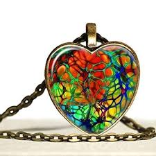 rainbow heart shaped glass
