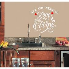 Decal Decal All You Need Is Love And Wine Kitchen Wall Decal 13 X 13 White Red Hearts Walmart Com Walmart Com