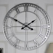extra large silver skeleton wall clock