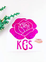 Monogram Sticker Rose Monogram Decal Glitter Rose Gold Decal Etsy Monogram Stickers Gold Decal Monogram Decal