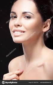 young brunette woman natural makeup