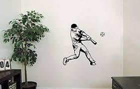 Amazon Com Baseball Vinyl Wall Decals Sport Player Baseball Bat Play Game Team Ball Helmet Decal Sticker Vinyl Murals Decors Il1001 Home Kitchen