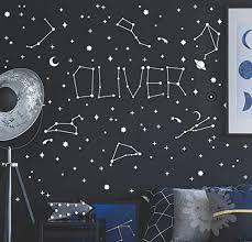 Amazon Com Space Name Wall Decal Constellation Sticker Personalized Stars Kidsroom Planet Kids Name Galaxy Trendy Style Boys Room Zodiac Handmade