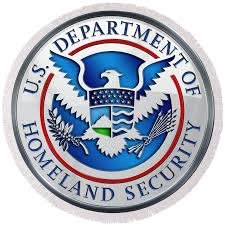 Department of Homeland Security - D H S Emblem on Blue Velvet Round Beach Towel for Sale by Serge Averbukh