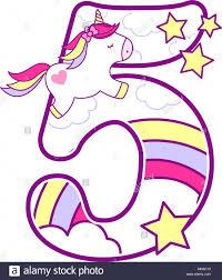 Numero 5 Con Lindo Unicornio Y Rainbow Puede Ser Utilizado Para