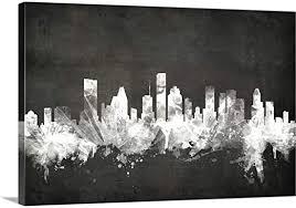 Amazon Com Houston Texas Skyline Canvas Wall Art Print 18 X12 X1 25 Posters Prints