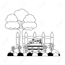 Tree Vegetables Fence Flowers Farm Vector Illustration Royalty Free Cliparts Vectors And Stock Illustration Image 124861072