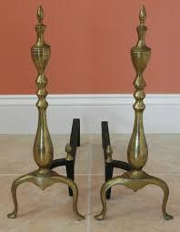 cast iron brass fireplace andirons