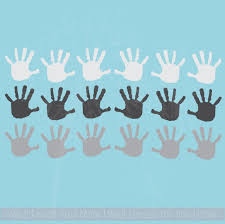 Handprint Design Vinyl Stickers Wall Decals 3 Color Set 18pc 3 5 Inch