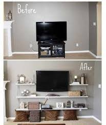 Tv Stand Idea Instead Of Standard Tv Stand For Toddler Room Instead Put Shelfs On The Wall For Books And Or Storag Living Room Diy Home Decor Home And Living