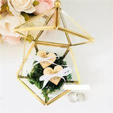 new custom name wedding glass ring box
