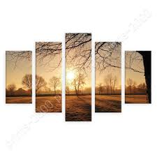 Sunrise In Icy Forest By Split 5 Panels Poster Or Wall Sticker Decal Wall Ebay