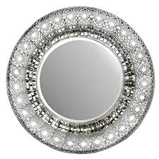 round wall mirror with silver frame
