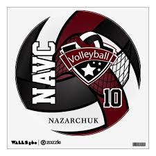 Dark Maroon Black White Personalize Volleyball Wall Decal Zazzle Com