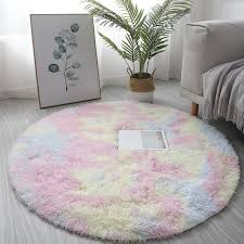 Hot Promo 367d Colorful Round Shaggy Carpet Soft Plush Fluffy Rug Computer Chair Motley Round Rug Cute Kids Room Floor Mat Cloakroom Carpets Cicig Co